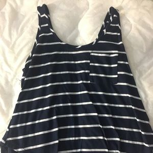 Navy blue and white tank top